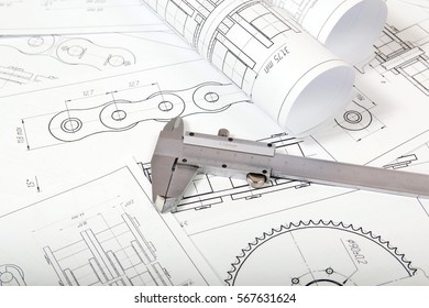 Technical drawing and calipers. Engineering, technology and metalworking