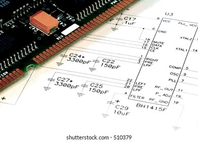 Technical Drawing and a Circuit Board.