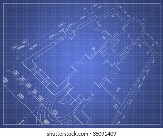 Technical drawing (draft) over a blue background in perspective