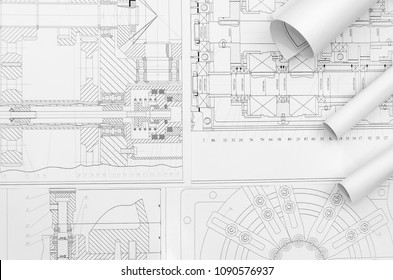 Technical drawing -  machine parts close up