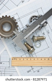 technical drawing and tools