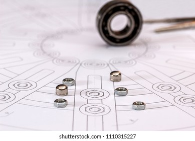 Technical drawings with bearing on paper