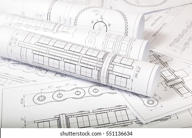 Technical drawings of driving roller chain. Engineering, technology and metalworking.