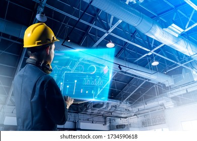 Technical engineer work smart factory machine IOT internet of thing digital technology, futuristic smart industry manufacturing digital process AI management technology app system automate robot contr