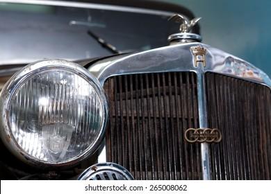 TECHNICAL MUSEUM, CHERNOGOLOVKA, RUSSIA - MARCH 15, 2015: Closeup of famous German car Horch 830 BL Pulman Limousine