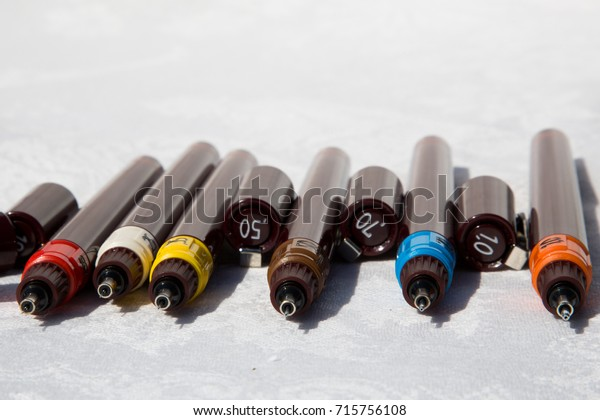 technical pens in a row