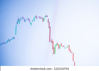 Technical price graph, chart on computer screen, market volatility, big red candlestick panic sell. Trade war effect. Stock trading, crypto currency, forex future bitcoin market background.