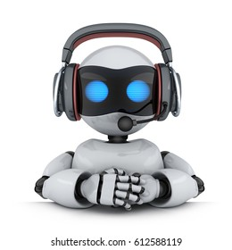 Technical support. Robot in headphone. 3d illustration