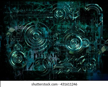 A Technically electronic background with device objects, 3D illustration