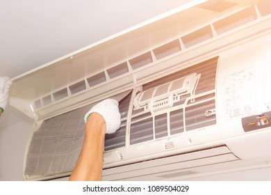 Miraculous Air Conditioner Cleaning Man Use Gloves Stock Photo Edit Now Wiring Cloud Hisonuggs Outletorg