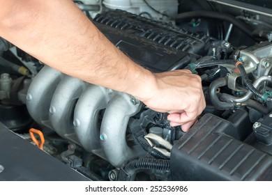 Technician checking car engine