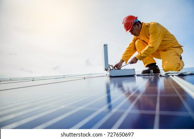 technician checks the maintenance of the solar panels.