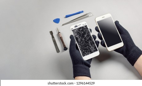 Technician or engineer preparing to repair and replace new screen broken and cracked screen smartphone preparing on desk with copy space