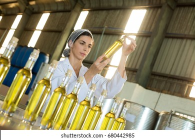 Technician examining olive oil in factory