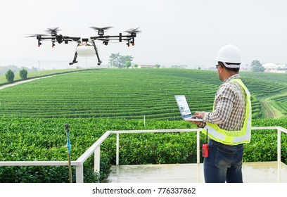 Technician farmer use wifi computer control agriculture drone fly to sprayed fertilizer on the tea fields