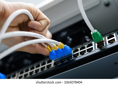 Technician hand connecting switch ethernet cables and port connected to internet switch.Information technology computer network concept.Selective focus.