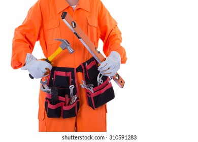 Technician holding instruments on a white background.