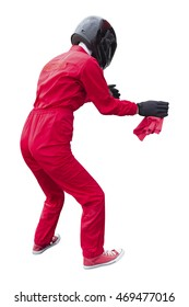 Technician maintaining service for a racing car in pit stop isolated on white background with clipping path