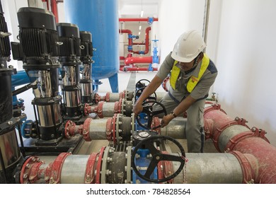 Technician operation valve for the industrial fire pump system at water tank station in factory