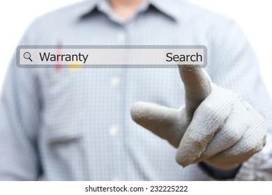 technician pressing warranty word in search bar