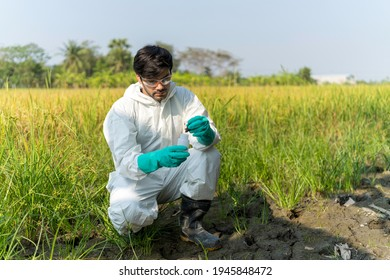 A technician in protective suit collecting samples of soil potentially contaminated by toxic material ,soil quality monitoring concept