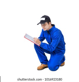Technician service with clipboard isolated on white background.