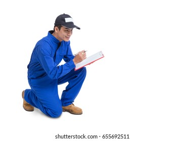 Technician service isolated on white background.