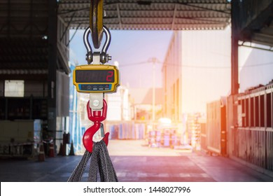 Technician set Industrial digital scales use weight check in factory and overhead crane