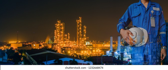 Technician stand hand holding safety helmet with blue uniform on petrochemical industrial background, Double exposure