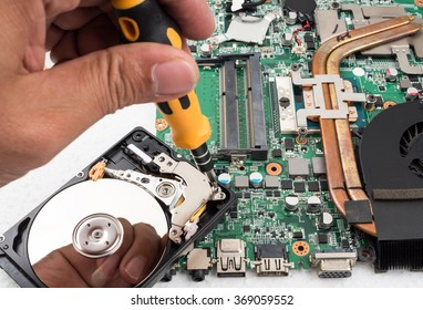 Technician support upgrade part and fixing laptop. select focus
