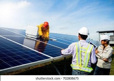 Technician team Repair and maintenance of solar panel