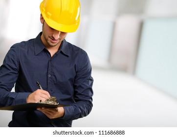 Technician Using Clipboard, Indoor
