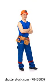 Technician in work wear after job against white background