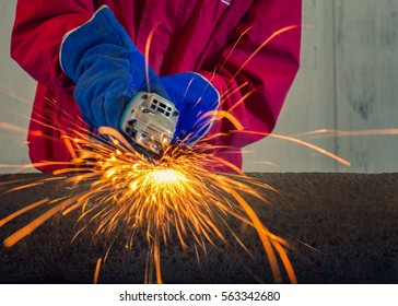 Technician working by grinding