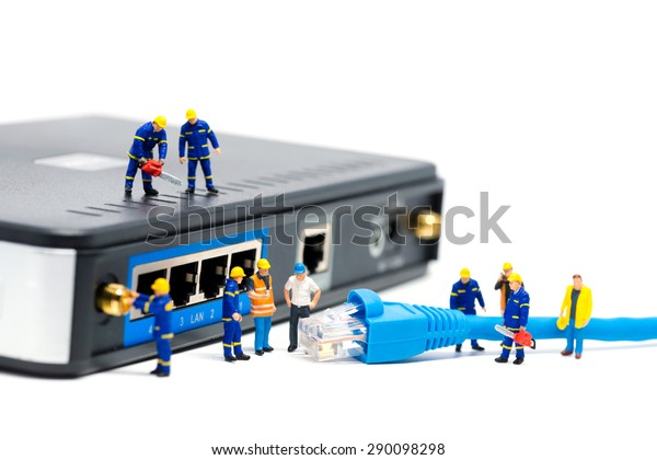 Technicians Connecting Network Cable Network Connection ... on