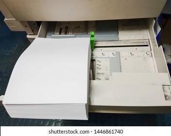 Technicians are preparing Photocopier To perform annual maintenance,Replacement Toner Printer cartridge, Close up selective focus.