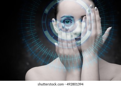 Techno woman in futuristic concept