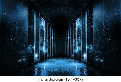 technological background on servers in data center, futuristic design. Server room represented by several server racks with strong dramatic light.