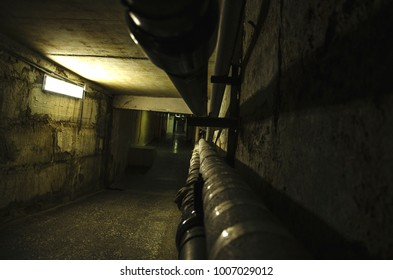 Technological communication underground tunnel with electrical cables