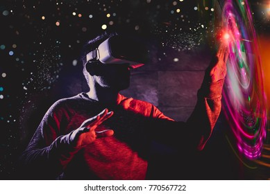 Technological concept men using virtual reality glasses