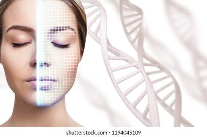 Technologisches Scannen des Gesichts junger Frau unter DNA Stämmen. Sicherheitskonzept.