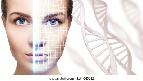 Technological scanning of face of young woman among DNA stems. Concept of security.