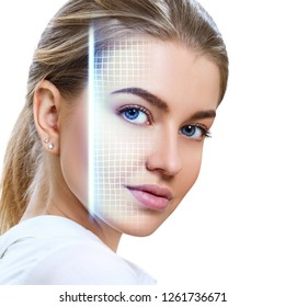 Technological scanning of face of young woman. Concept of security.