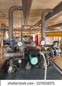 technological unit of industrial, gas boiler with boilers; pumps; sensors and a variety of pipelines.