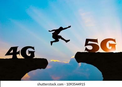 Technology 4G go to 5G Men jump over silhouette