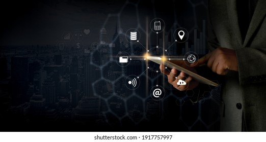 technology about internet of thing concept man use smartphone with IOT, internet of things internet in work Smart city and IoT