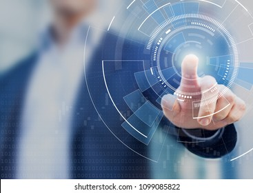 Technology abstract background with person hand touching complex circular diagram on virtual screen with copy-space, innovation, network, big data and internet concept
