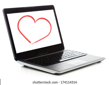 technology and advertisement concept - laptop computer with heart on white screen