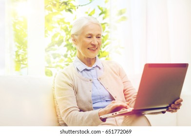 technology, age and people concept - happy senior woman with laptop computer at home over window with green natural background
