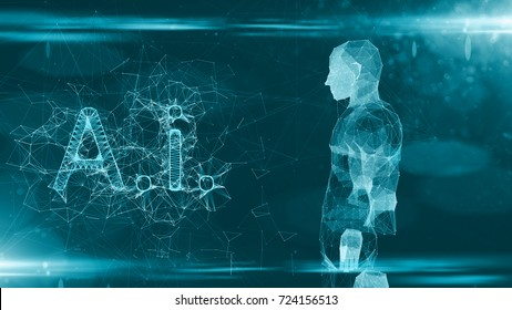 Technology of AI Artificial intelligence dig data machine deep learning intelligence design 3D rendering